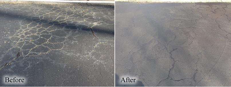 A cracked area treated with GatorPave